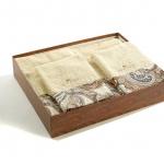 Полотенца хлопковые Deluxe. Комплект махровых полотенец (кремовый)
