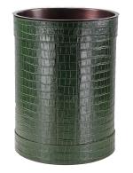 Вёдра с педалью Дровницы Вёдра. Ведро кожаное круглое Rotondo waste paper basket by GioBagnara Green Croc