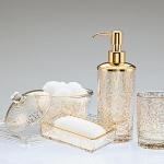 Аксессуары для ванной настольные. Flora Gold стеклянные настольные аксессуары для ванной