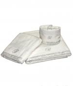Полотенца хлопковые Deluxe. Комплект полотенец для лица (40х60), рук (60х110) и тела (150х100) Macrame Белый с бежевой отделкой от Blumarine art.78737-05