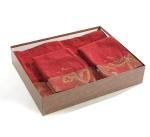 Полотенца хлопковые Deluxe. Комплект махровых полотенец (красный)
