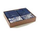 Полотенца хлопковые Deluxe. Комплект махровых полотенец (темно-синий)