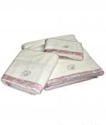 Полотенца хлопковые Deluxe. Комплект полотенец для лица (40х60), рук (60х110) и тела (150х100) Macrame Белый с розовой отделкой от Blumarine art.7873-02