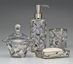 Аксессуары для ванной настольные. Crystal Vine Platinum стеклянные настольные аксессуары для ванной