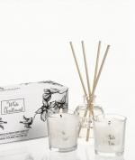 Новый Год. Комплект из 2х мини-свечей и диффузора (50мл.) «Белое Рождество» от Stone Glow Арт.3593