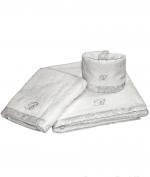 Полотенца хлопковые Deluxe. Комплект полотенец для лица (40х60), рук (60х110) и тела (150х100) Macrame Белый с серой отделкой от Blumarine art.78737-01