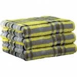 """Хлопковые полотенца.          Полотенце CAWO """"Cubes"""" 1062 Желтый-серый"""