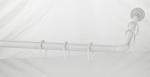 Шторки для душа и ванны текстильные. Карниз для ванной комнаты угловой 90х90 cм 1270-90W белый