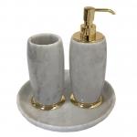 Аксессуары для ванной настольные. Elegance Gold Bianco Carrara мраморные аксессуары для ванной настольные Золото