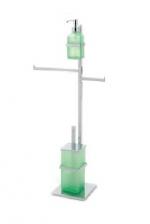 Стойки напольные с бумагодержателем, полотенцедержателем, ёршиком и высокие. Стойка напольная для биде с дозатором, ёршиком и полотенцедержателем Arcobaleno квадратное основание Verde