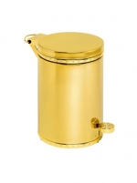 Аксессуары для ванной с кристаллами Swarovski. Золотое ведро с педалью декор кристаллы Swarovski Pelera