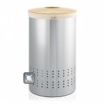 Корзины для белья. Бак для белья Brabantia 50 литров с деревянной крышкой Matt Steel Fingerprint Proof матовая сталь с защитой от отпечатков пальцев