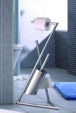 Стойки напольные для туалетной бумаги с полотенцедержателем и ёршиком.  Modena Nicol стойка напольная с ёршиком и держателем для запасных рулонов бумаги