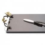 Разделочные доски. Доска с ножом 47 см «Бабочки гинкго»