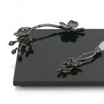 Разделочные доски. Доска для сыра с ножом 32 см «Черная орхидея»