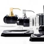 Аксессуары для ванной настольные. Kristall Anthrazit Decor Walther чёрные хрустальные аксессуары для ванной настольные