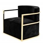 Кресла. Eichholtz Chair Emilio кресло чёрное с золотом