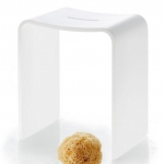 Банкетки для ванной Пуфы Интерьерные Табуреты для душа и ванной Откидные сиденья. Stone белый табурет для душа и ванной комнаты