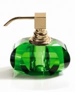 Аксессуары для ванной настольные. Kristall Аксессуары для ванной настольные хрустальные зелёные дозатор золотой Decor Walther