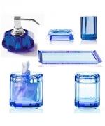 Аксессуары для ванной настольные. Kristall Saphirre blue Decor Walther Настольные аксессуары для ванной хрустальные синие