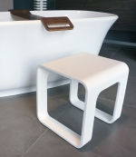 Банкетки для ванной Пуфы Интерьерные Табуреты для душа и ванной Откидные сиденья.  Белый табурет для ванной и душа WhiteStone матовый