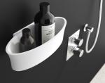 Полки для душа Сетки Полки для ванной стеклянные Полки для полотенец. Полка для душа белый камень композитный Belle PomdOr