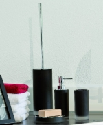 Аксессуары для ванной настольные. Baltic настольные Аксессуары для ванной стеклянные чёрные