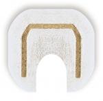 Коврики для ванной комнаты.  Коврик для ванной комнаты CLASSIC Nicol белый люрекс золотой серебряный с вырезом