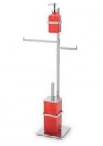 Стойки напольные с бумагодержателем, полотенцедержателем, ёршиком и высокие. Стойка напольная для биде с дозатором, ёршиком и полотенцедержателем Arcobaleno квадратное основание