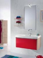 Мебель для ванной комнаты. QUIZ мебель для гостевого санузла, красный/дуб
