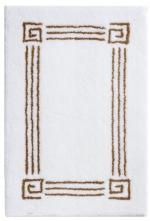 Коврики для ванной комнаты. Коврик для ванной комнаты белый с греческим декором Спираль люрекс золотой