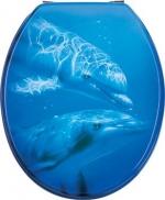 Сиденья для унитаза с крышкой. Flipper синее сиденье для унитаза с крышкой Дельфины