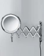Зеркала косметические с подсветкой увеличением настенные настольные Зеркала с присосками. Косметическое зеркало с подсветкой и увеличением 1х8 или 1х5 двойная гармошка Sharneer-Х настенное Decor Walther