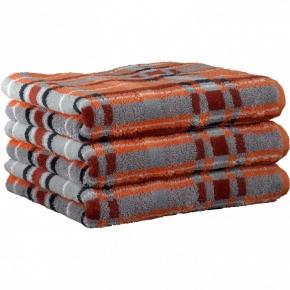 """Хлопковые полотенца.          Полотенце CAWO """"Cubes"""" 1062 Оранжевый-серый"""