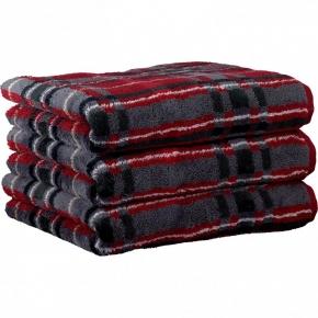 """Хлопковые полотенца.          Полотенце CAWO """"Cubes"""" 1062 Красный-графит"""