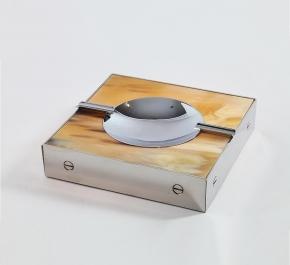 Пепельницы Зажигалки Deluxe. Пепельница с отделкой металлом и рогом (16 х 16 см)