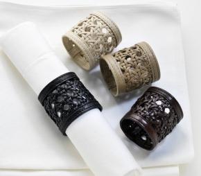 Посуда Столовые приборы Декор стола Deluxe. Кольца для салфеток кожаные Colourmix leather napkin rings set by Riviere