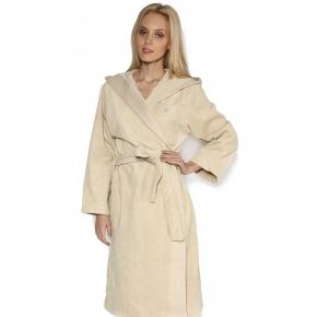 Халаты Одежда для бани и сауны Deluxe. Халат махровый с капюшоном Crociera (Кросиера) (S, M, L) бежевый со стразами