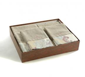 Полотенца хлопковые Deluxe. Комплект махровых полотенец (светло серый)