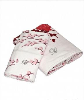 Полотенца хлопковые Deluxe. Комплект полотенец для лица (40×60) и рук (60×110) Gemma белый с рубиновыми цветами от Blumarine art.78770-09