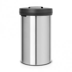 Мусорные баки и вёдра для кухни. Мусорный бак BIG BIN 60 литров Matt Steel Fingerprint Proof матовая сталь с защитой от отпечатков пальцев