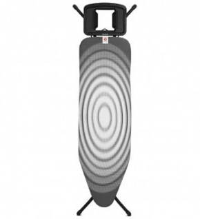 Гладильные доски. Гладильная доска Brabantia 124х38см (размер B) со стационарной подставкой для утюга, цвет каркаса Black чёрный