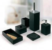 Аксессуары для ванной настольные.  Marmores аксессуары для ванной чёрные настольные Ardesia из натурального камня