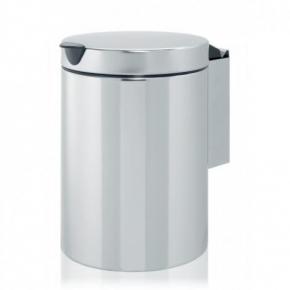 Мусорные баки и вёдра для кухни. Ведро для мусора Brabantia настенное (3л) - Brilliant Steel (полированная сталь)