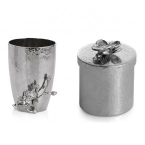 . Michael Aram Косметическая ёмкость и стакан для щёток металл Белая орхидея