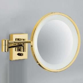 Зеркала косметические с подсветкой увеличением настенные настольные Зеркала с присосками.  Косметическое зеркало Золотое с подсветкой и увеличением настенное Gold 40 без провода Decor Walther