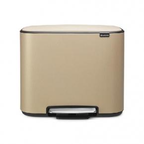 Мусорные баки и вёдра для кухни. Brabantia Bo мусорный бак с педалью Золотой с эффектом минерального напыления 3х11 литров