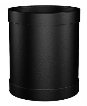 . Ведро кожаное Calligaris Bert чёрное с декором круглое