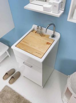 Итальянские постирочные раковины Мебель и оборудование для постирочной комнаты.  Jolly Wash Colavene итальянская постирочная раковина 45 см Bianca с корзиной для белья