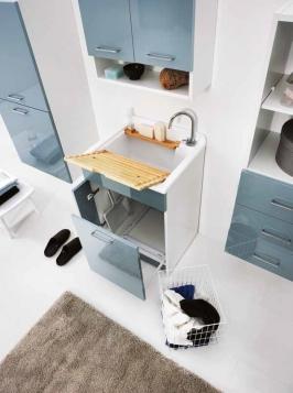 Итальянские постирочные раковины Мебель и оборудование для постирочной комнаты.  Jolly Wash Colavene мебель итальянская постирочная раковина 60 см Celeste с корзиной для белья